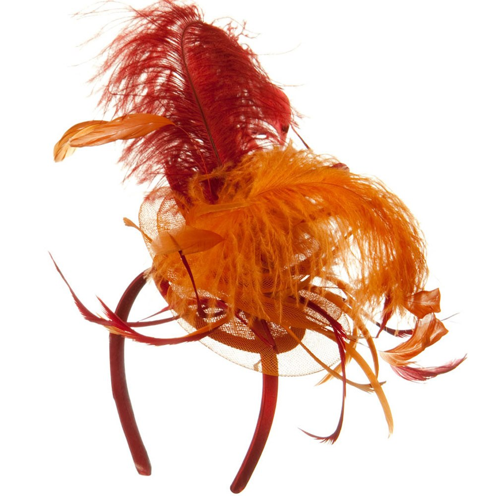 Ostrich Feather Fascinator - Red Orange - Hats and Caps Online Shop - Hip Head Gear