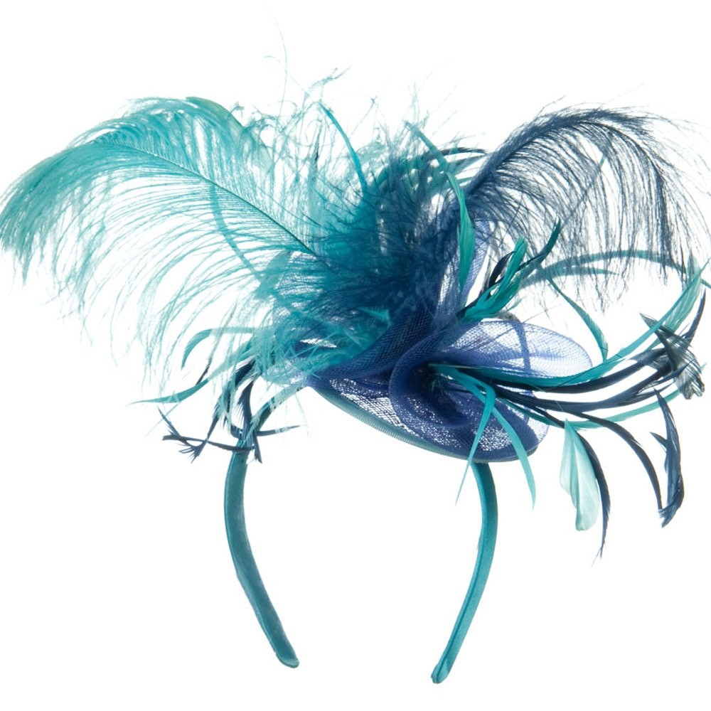 Ostrich Feather Fascinator - Turquoise Navy - Hats and Caps Online Shop - Hip Head Gear