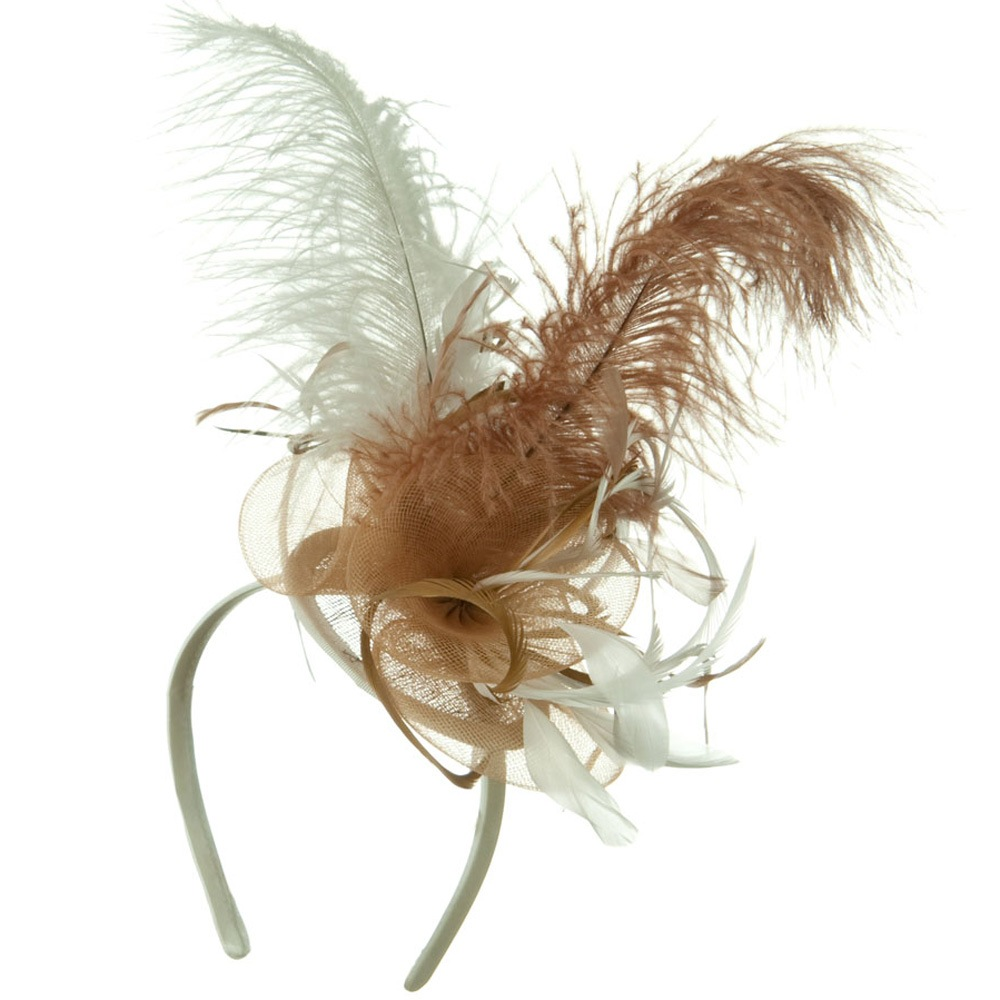 Ostrich Feather Fascinator - White Brown - Hats and Caps Online Shop - Hip Head Gear
