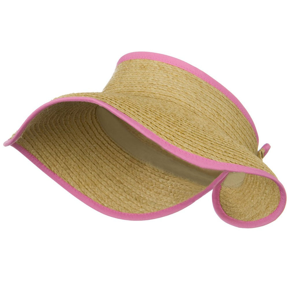 Raffia Wide Brim Roll Up Visor - Pink - Hats and Caps Online Shop - Hip Head Gear