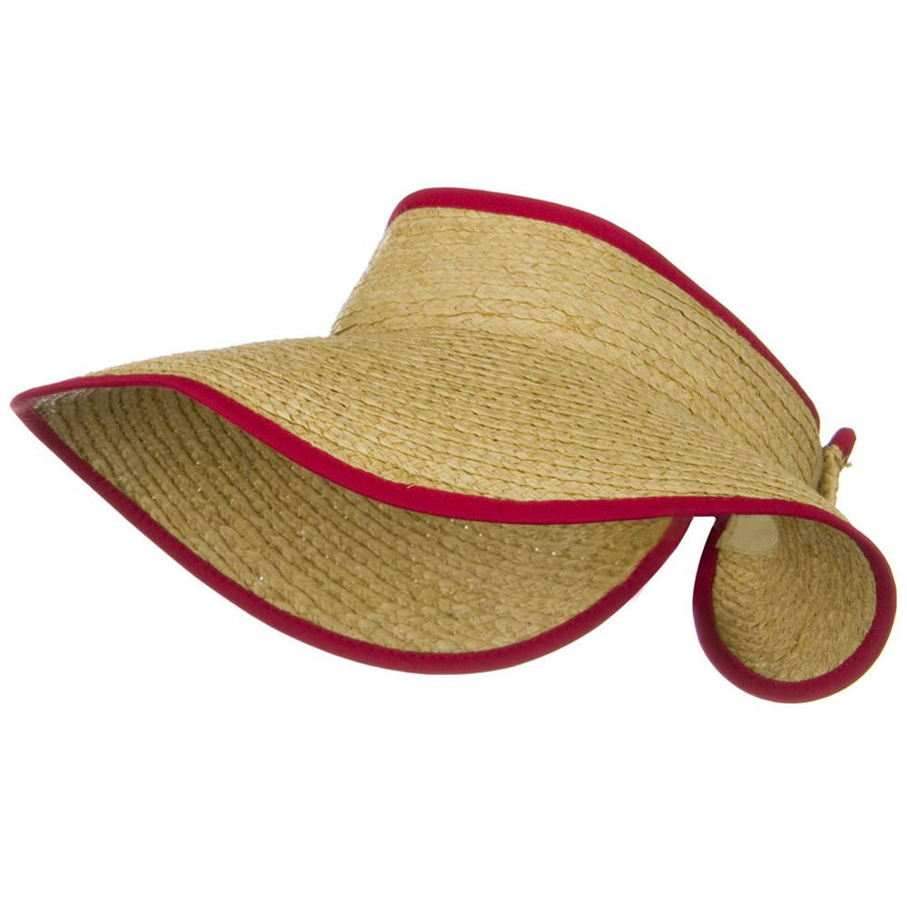 Raffia Wide Brim Roll Up Visor - Red - Hats and Caps Online Shop - Hip Head Gear