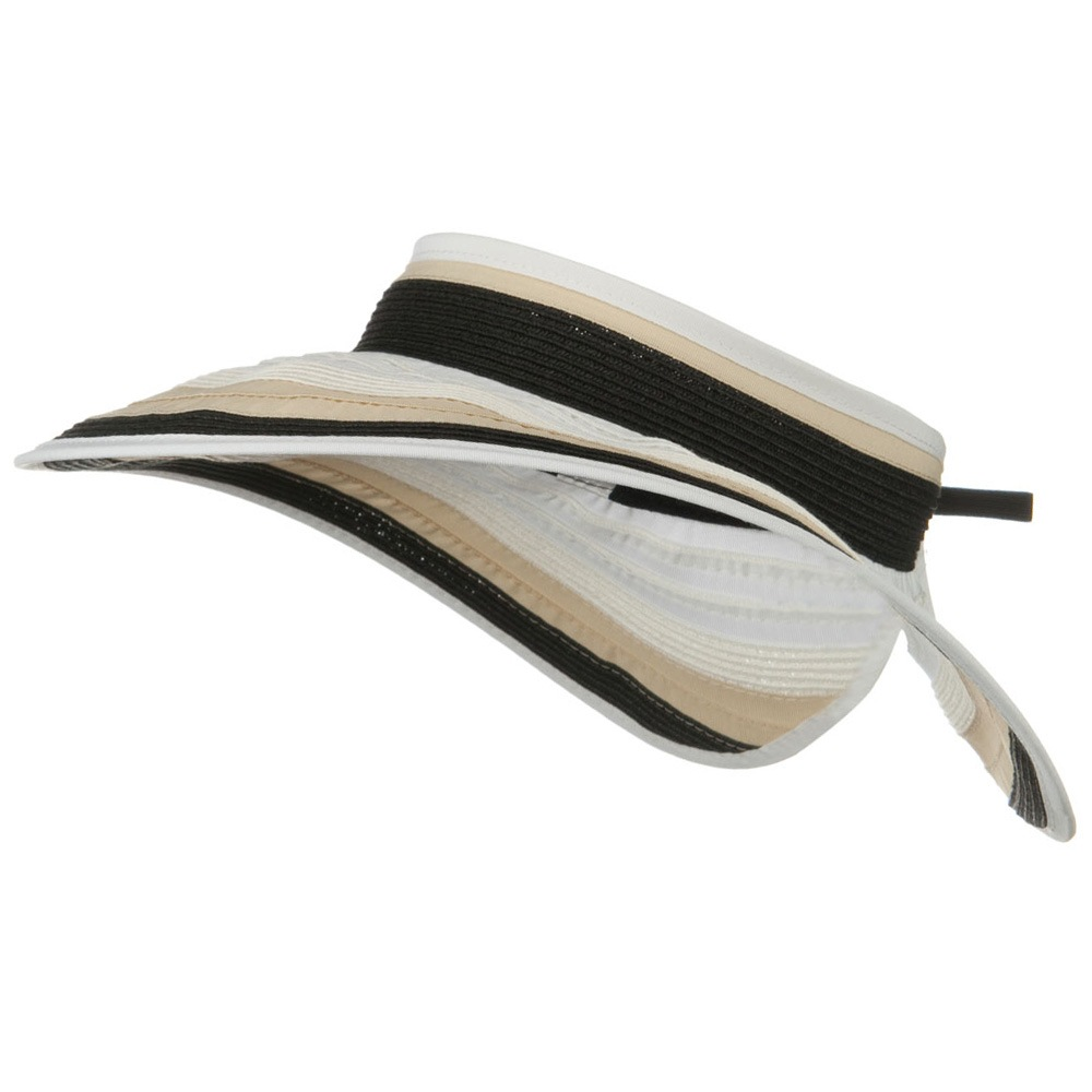 UPF 50+ 4 Inch Rolled Ribbon Braid Visor - Black - Hats and Caps Online Shop - Hip Head Gear