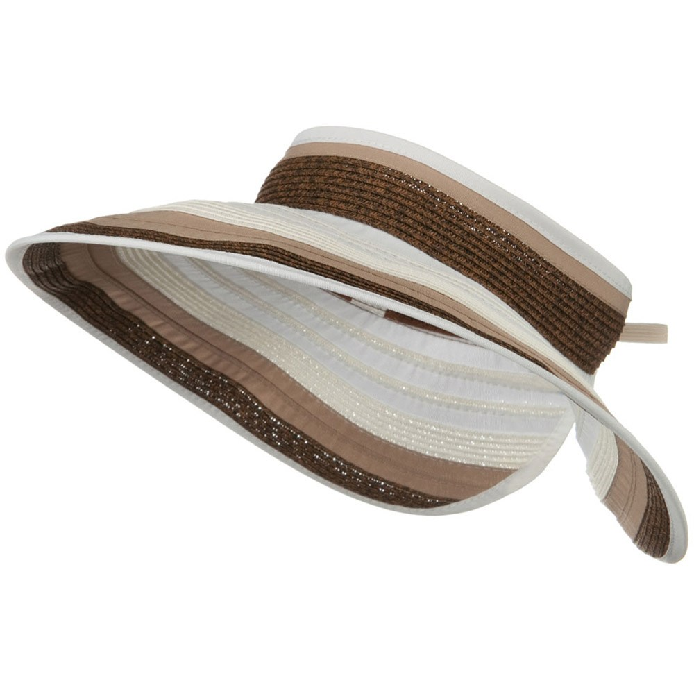 UPF 50+ 4 Inch Rolled Ribbon Braid Visor - Brown