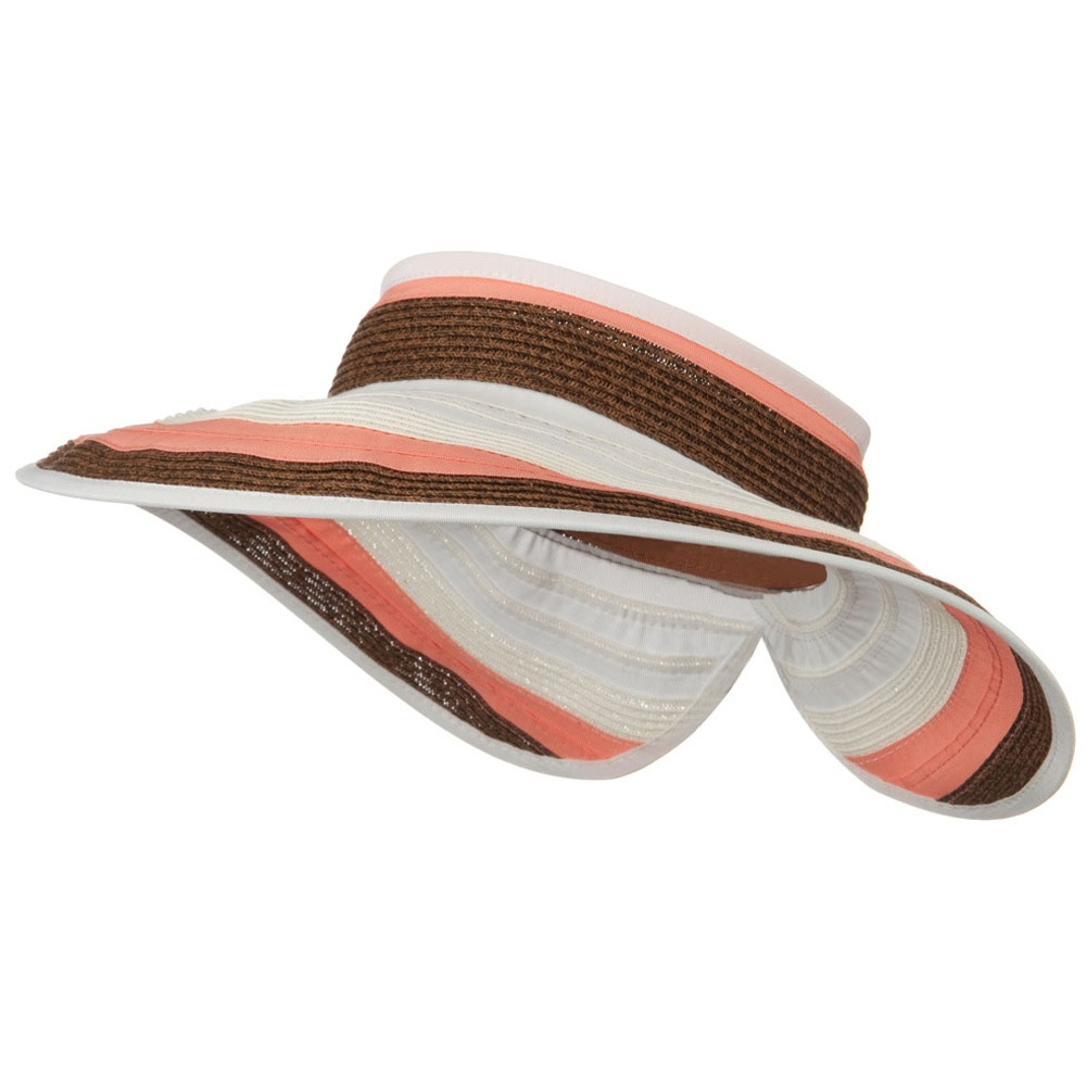 UPF 50+ 4 Inch Rolled Ribbon Braid Visor - Coral - Hats and Caps Online Shop - Hip Head Gear