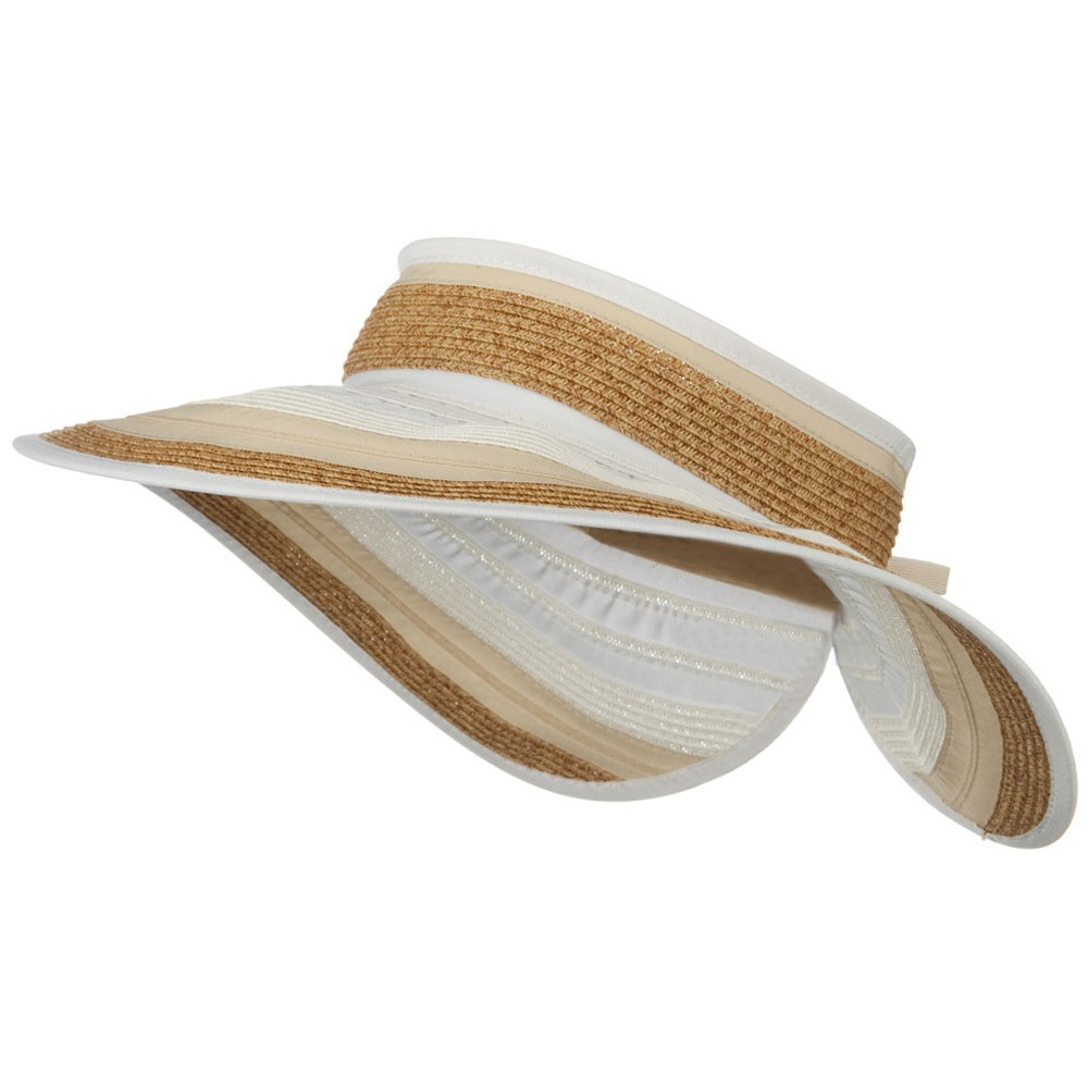 UPF 50+ 4 Inch Rolled Ribbon Braid Visor - Natural - Hats and Caps Online Shop - Hip Head Gear