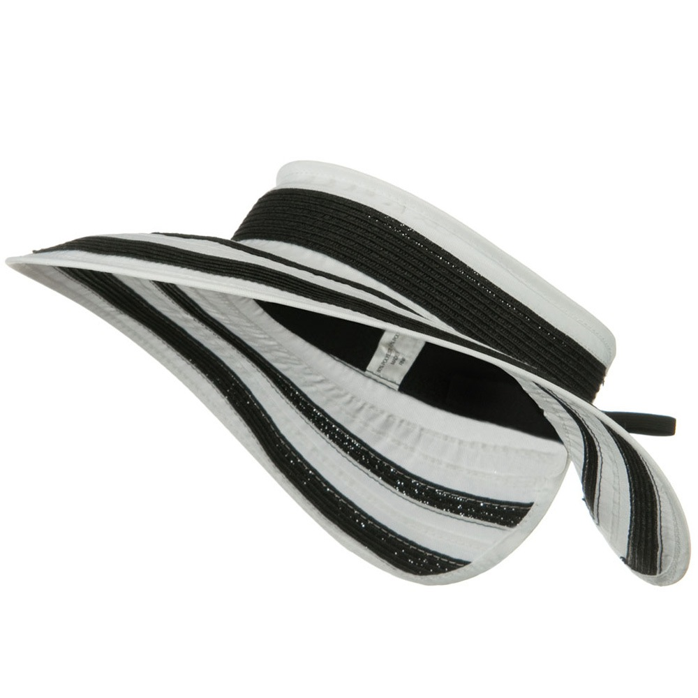 UPF 50+ Wide Brim Ribbon Braid Roll Visor - Black White - Hats and Caps Online Shop - Hip Head Gear