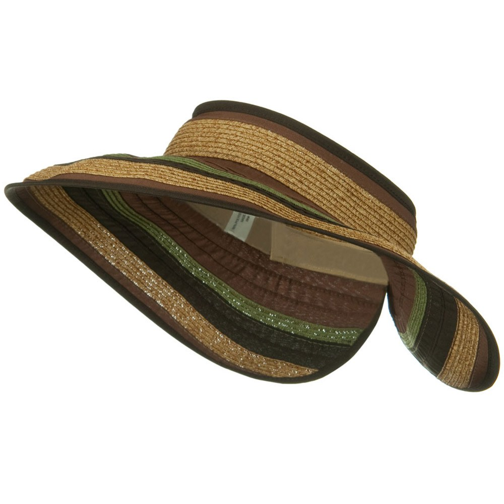 UPF 50+ Wide Brim Ribbon Braid Roll Visor - Brown Mix - Hats and Caps Online Shop - Hip Head Gear