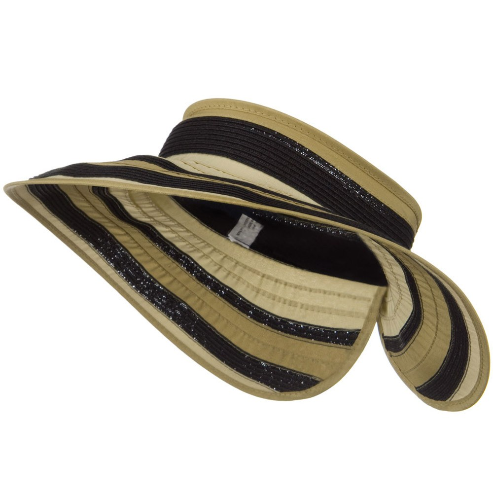 UPF 50+ Wide Brim Ribbon Braid Roll Visor - Natural Mix - Hats and Caps Online Shop - Hip Head Gear