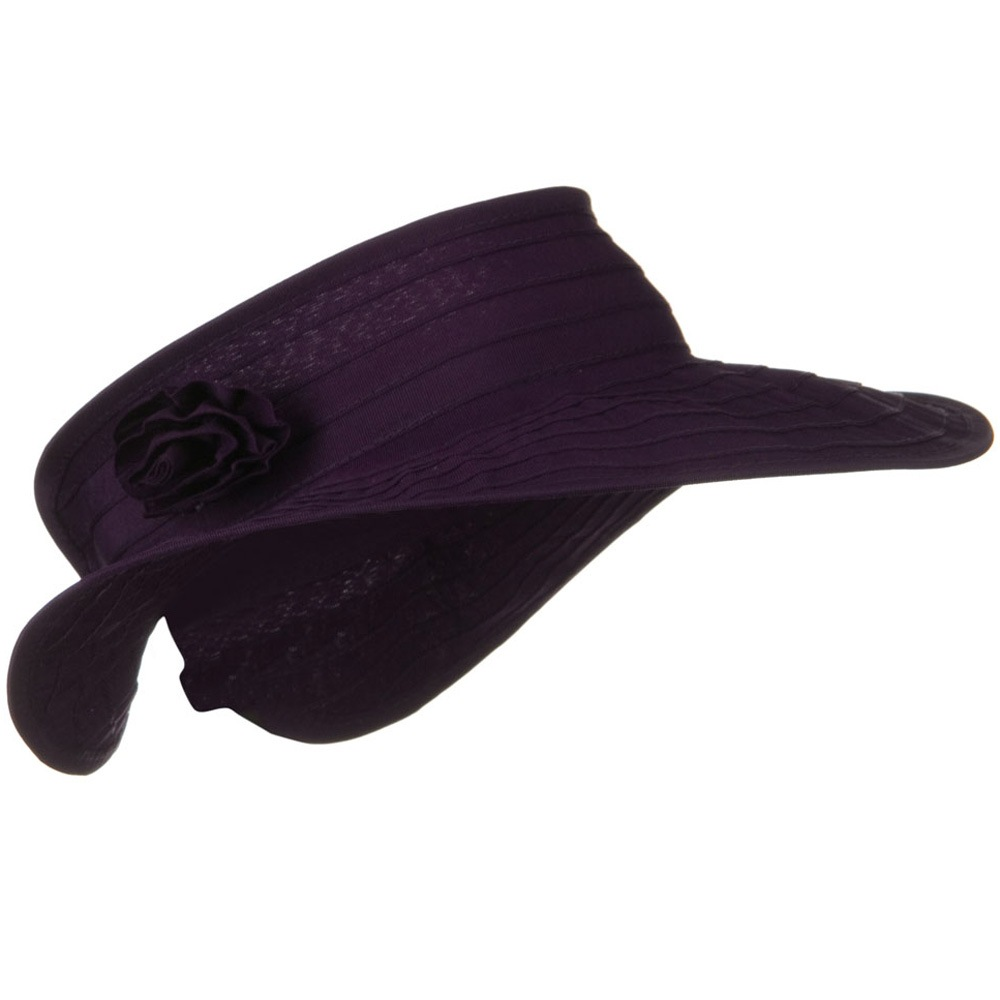 UPF 40+ Ribbon Flower Sewn Braid Roll Up Visor - Purple - Hats and Caps Online Shop - Hip Head Gear