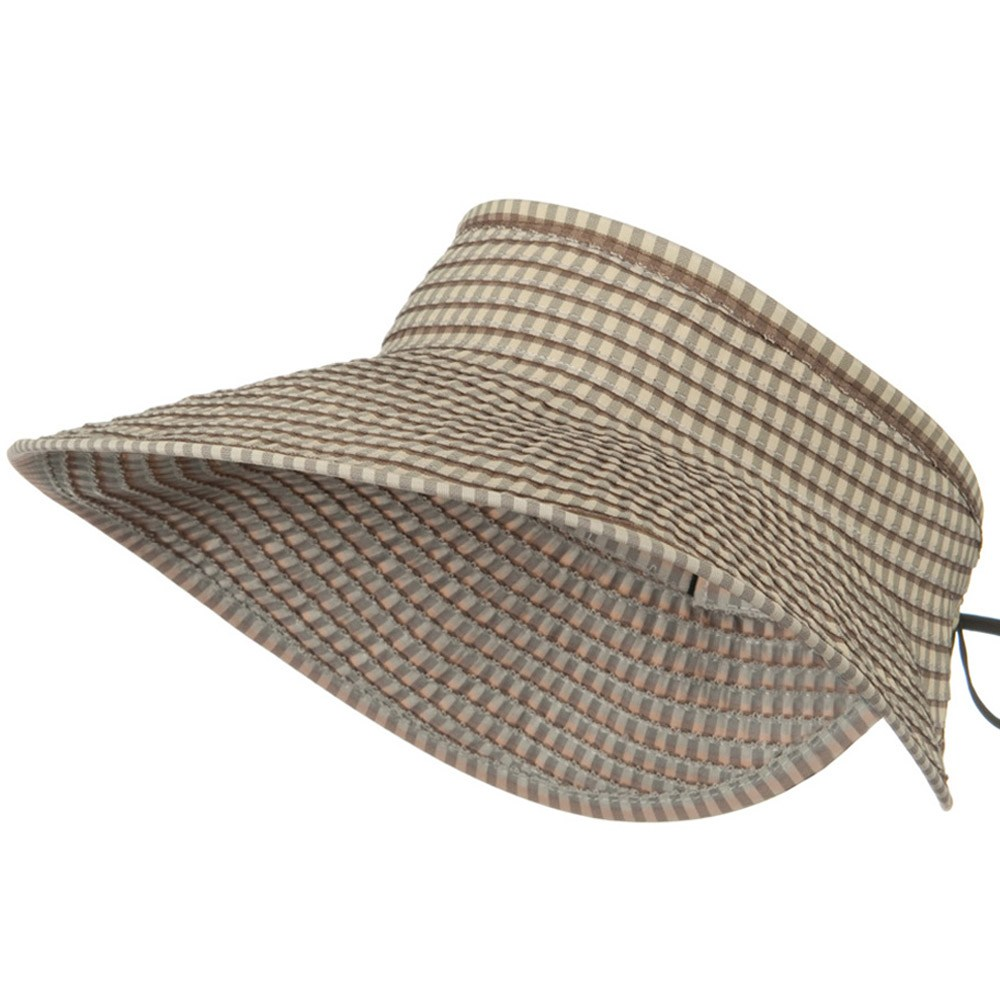 UPF 50+ Woman's Rolled Checkered Wide Brim Visor - Beige - Hats and Caps Online Shop - Hip Head Gear