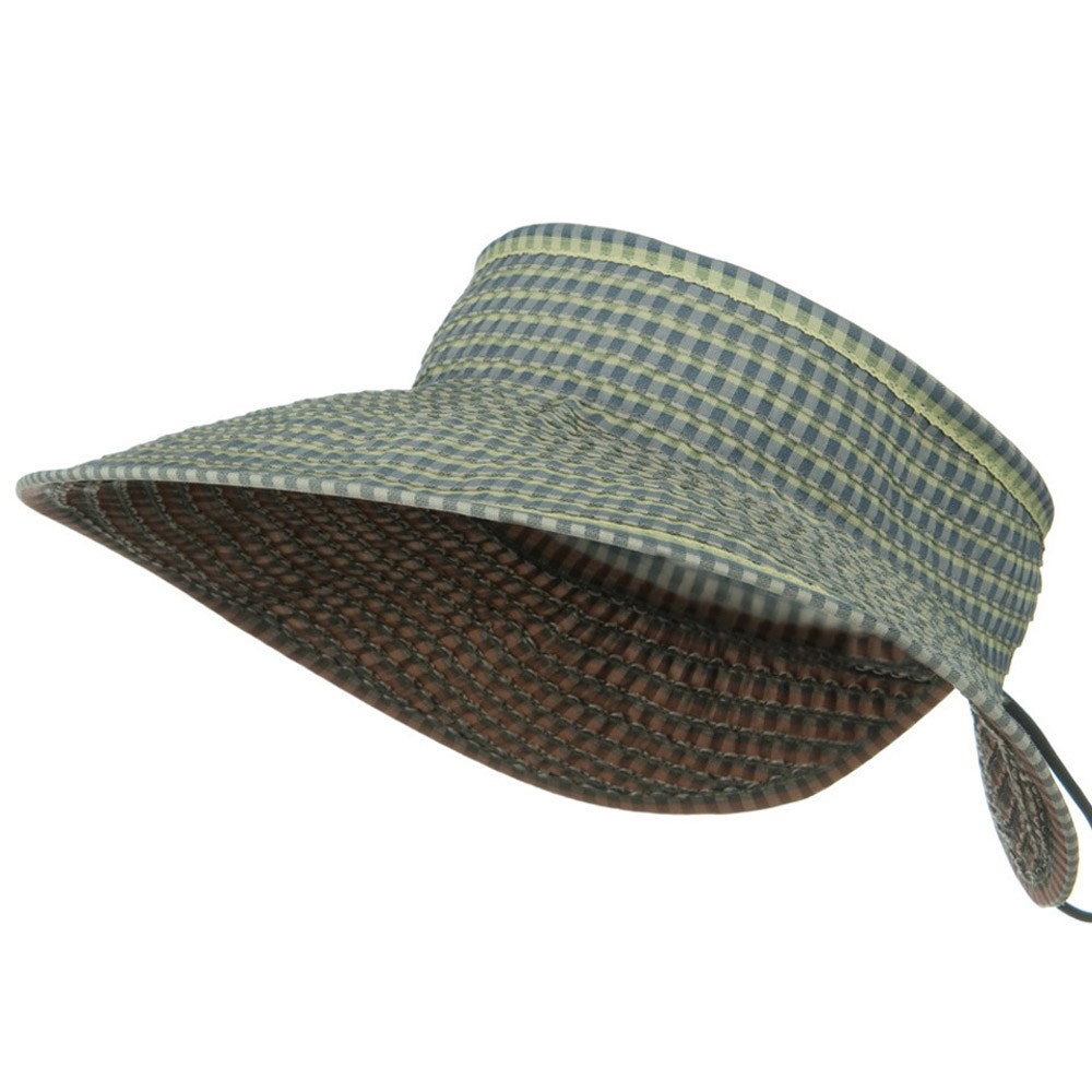 UPF 50+ Woman's Rolled Checkered Wide Brim Visor - Blue - Hats and Caps Online Shop - Hip Head Gear