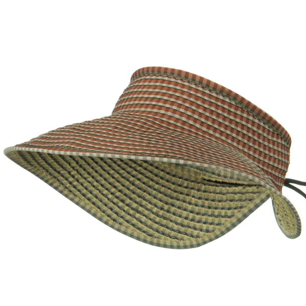 UPF 50+ Woman's Rolled Checkered Wide Brim Visor - Brick - Hats and Caps Online Shop - Hip Head Gear
