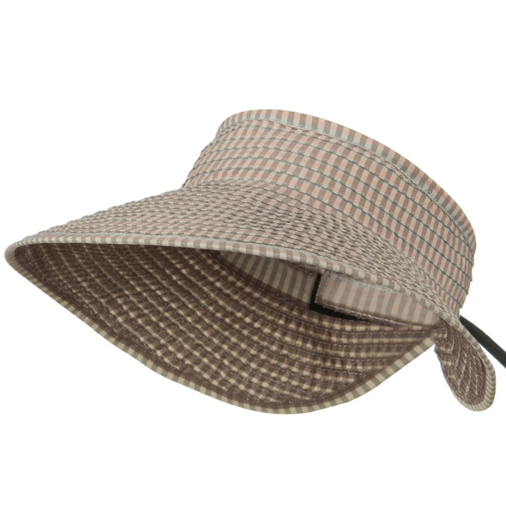 UPF 50+ Woman's Rolled Checkered Wide Brim Visor - Pink - Hats and Caps Online Shop - Hip Head Gear