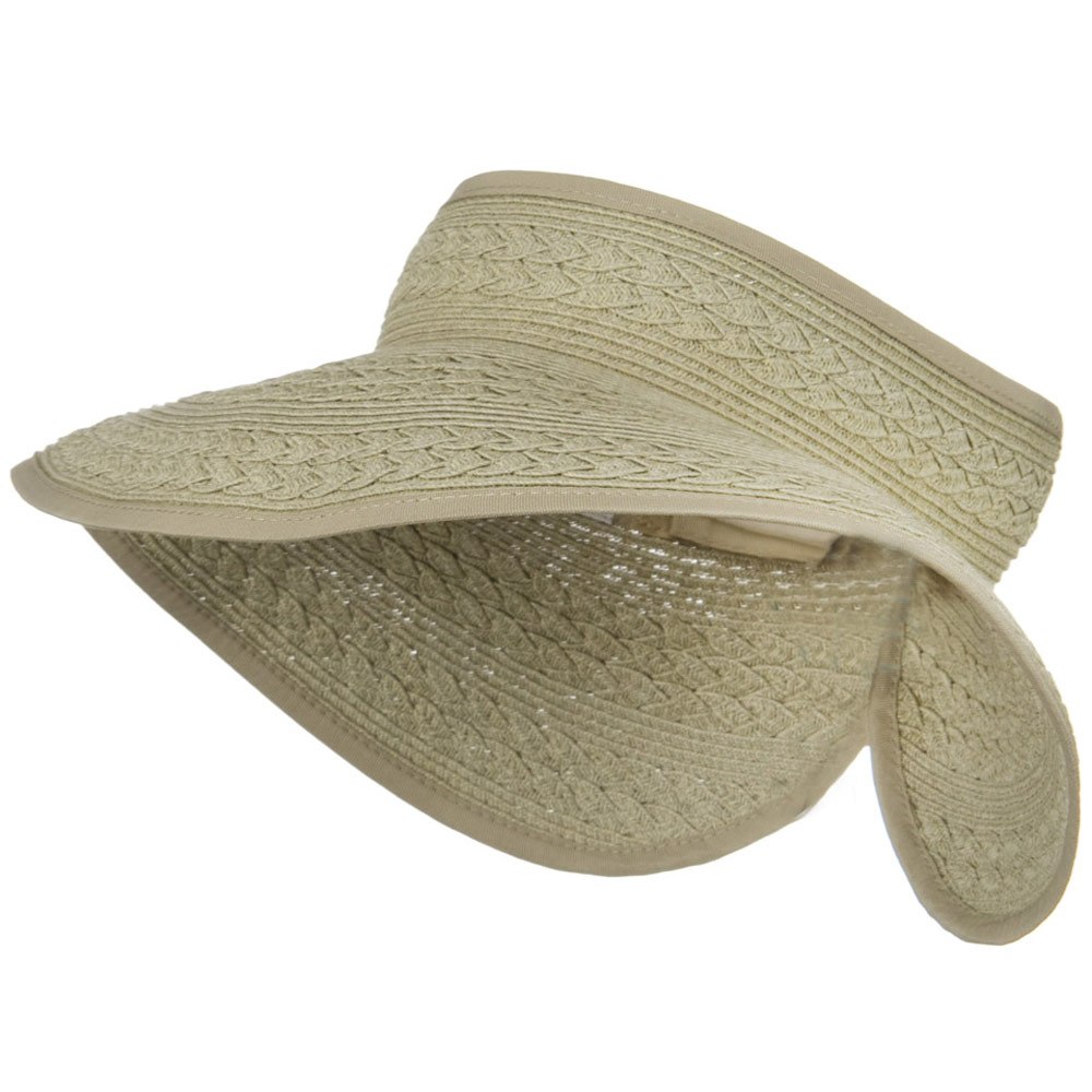 UPF 50+ Roll Up Toyo Wide Brim Visor - Taupe - Hats and Caps Online Shop - Hip Head Gear