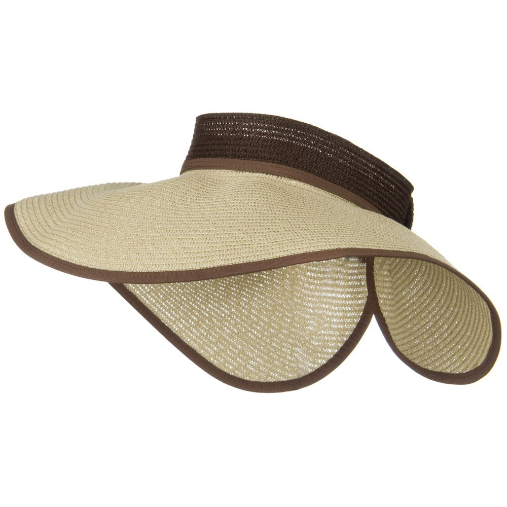Wide Brim Rolled Visor with Flower Ribbon - Tan - Hats and Caps Online Shop - Hip Head Gear