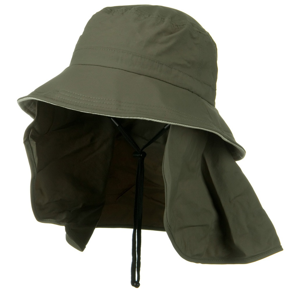 UV 50+ Talson Removable Flap UV Bucket Hat - Olive - Hats and Caps Online Shop - Hip Head Gear