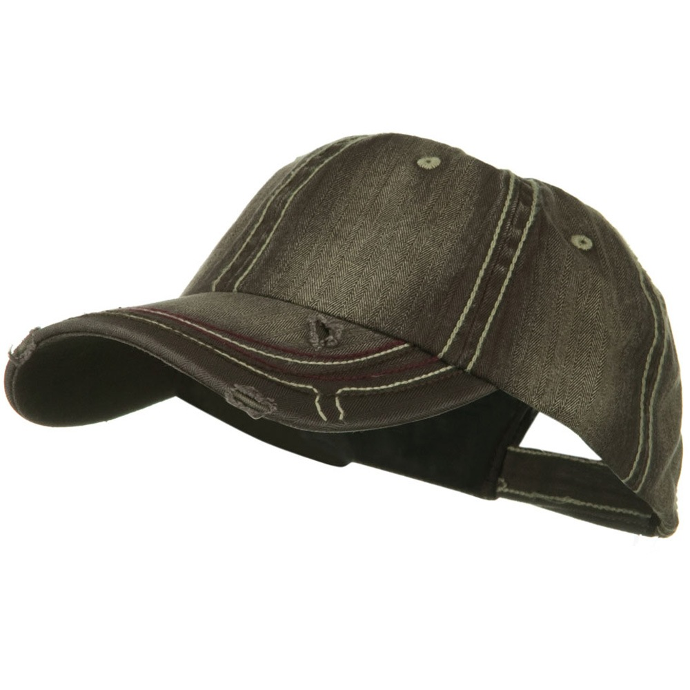 Low Profile Heavy Wash New Herringbone Distressed Cap - Brown - Hats and Caps Online Shop - Hip Head Gear
