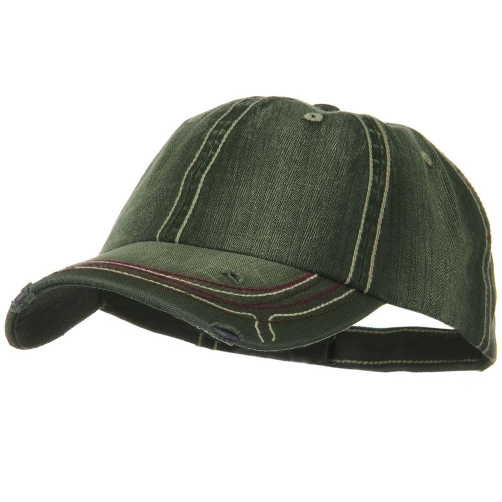 Low Profile Heavy Wash New Herringbone Distressed Cap - Olive - Hats and Caps Online Shop - Hip Head Gear