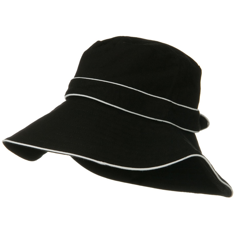 Canvas with Piping Wide Brim Hat - Black - Hats and Caps Online Shop - Hip Head Gear