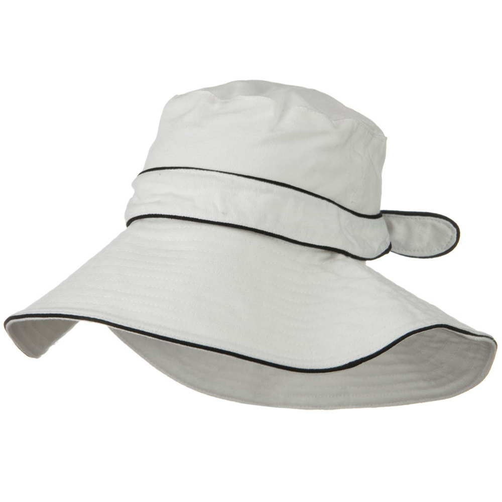 Canvas with Piping Wide Brim Hat - White - Hats and Caps Online Shop - Hip Head Gear
