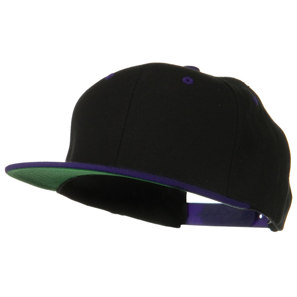 Classic Snapback Wool Blend 2 Tone Cap - Black Purple - Hats and Caps Online Shop - Hip Head Gear