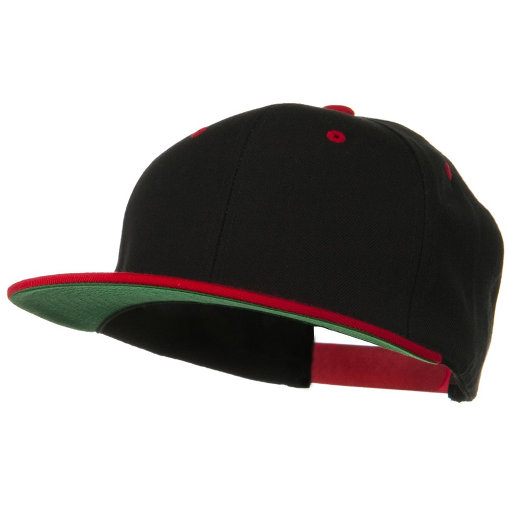 Classic Snapback Wool Blend 2 Tone Cap - Black Red - Hats and Caps Online Shop - Hip Head Gear