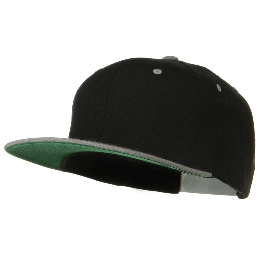 Classic Snapback Wool Blend 2 Tone Cap - Black Silver - Hats and Caps Online Shop - Hip Head Gear