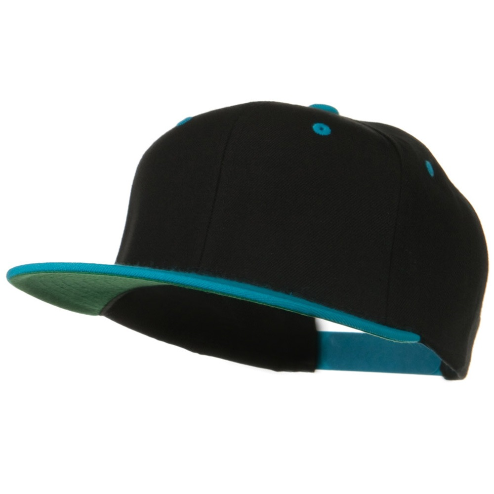 Classic Snapback Wool Blend 2 Tone Cap - Black Teal - Hats and Caps Online Shop - Hip Head Gear