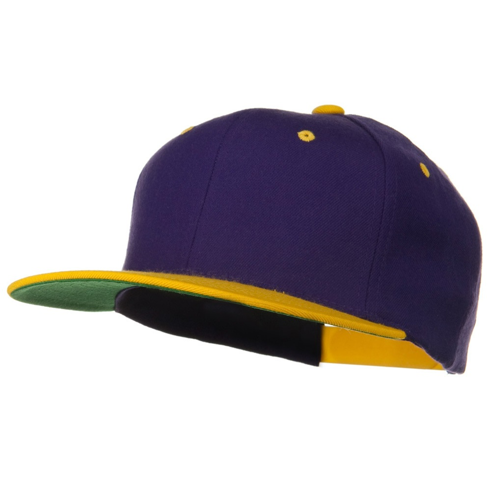 Classic Snapback Wool Blend 2 Tone Cap - Purple Gold - Hats and Caps Online Shop - Hip Head Gear