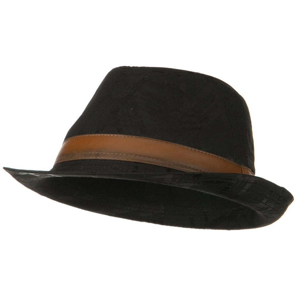 Jacquard Polyester Fedora Hat - Black - Hats and Caps Online Shop - Hip Head Gear