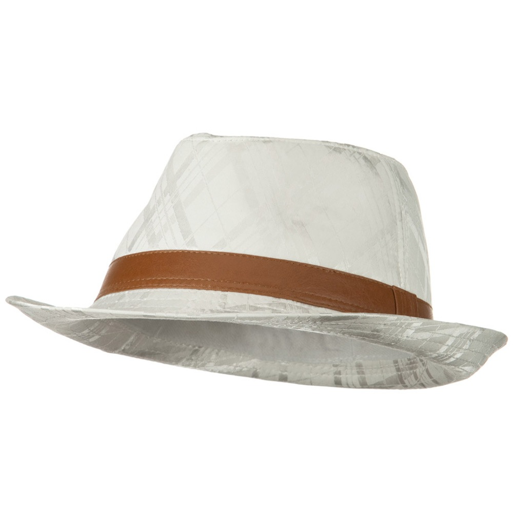 Jacquard Polyester Fedora Hat - White - Hats and Caps Online Shop - Hip Head Gear