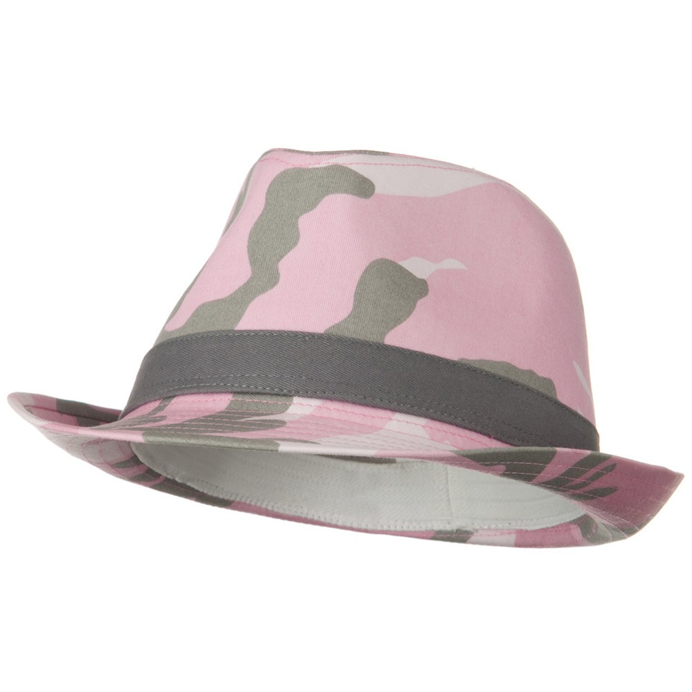 Camouflage Design Fedora Hat - Pink - Hats and Caps Online Shop - Hip Head Gear
