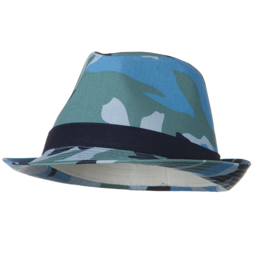 Camouflage Design Fedora Hat - Blue - Hats and Caps Online Shop - Hip Head Gear