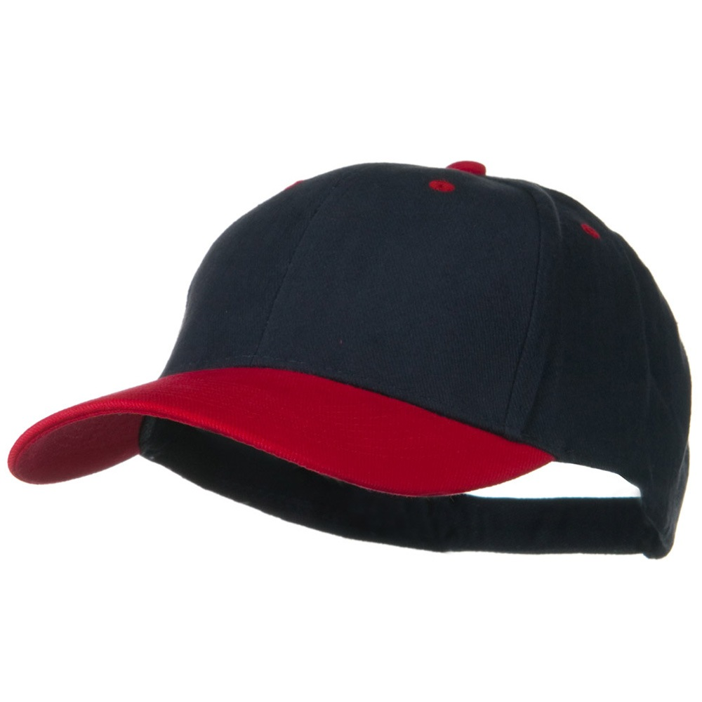 2 Tone Brushed Bull Denim Mid Profile Cap - Red Navy - Hats and Caps Online Shop - Hip Head Gear