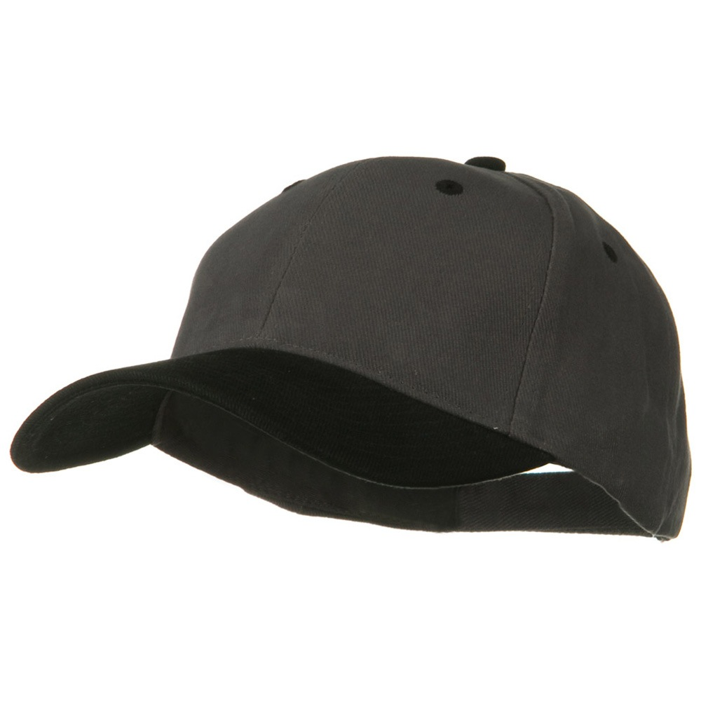 2 Tone Brushed Bull Denim Mid Profile Cap - Black Charcoal Grey - Hats and Caps Online Shop - Hip Head Gear