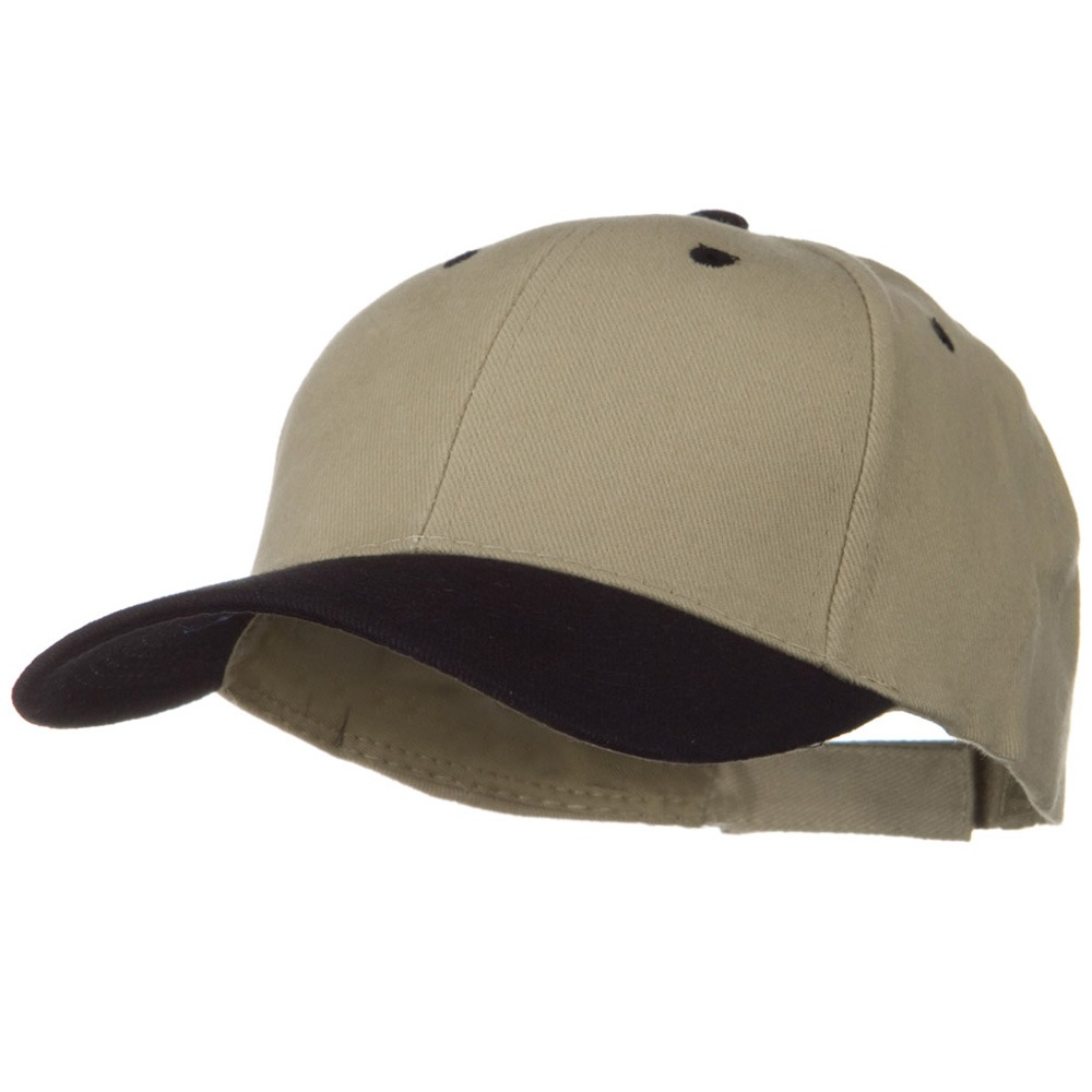 2 Tone Brushed Bull Denim Mid Profile Cap - Black Khaki - Hats and Caps Online Shop - Hip Head Gear