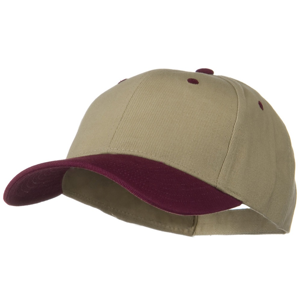 2 Tone Brushed Bull Denim Mid Profile Cap - Maroon Khaki - Hats and Caps Online Shop - Hip Head Gear