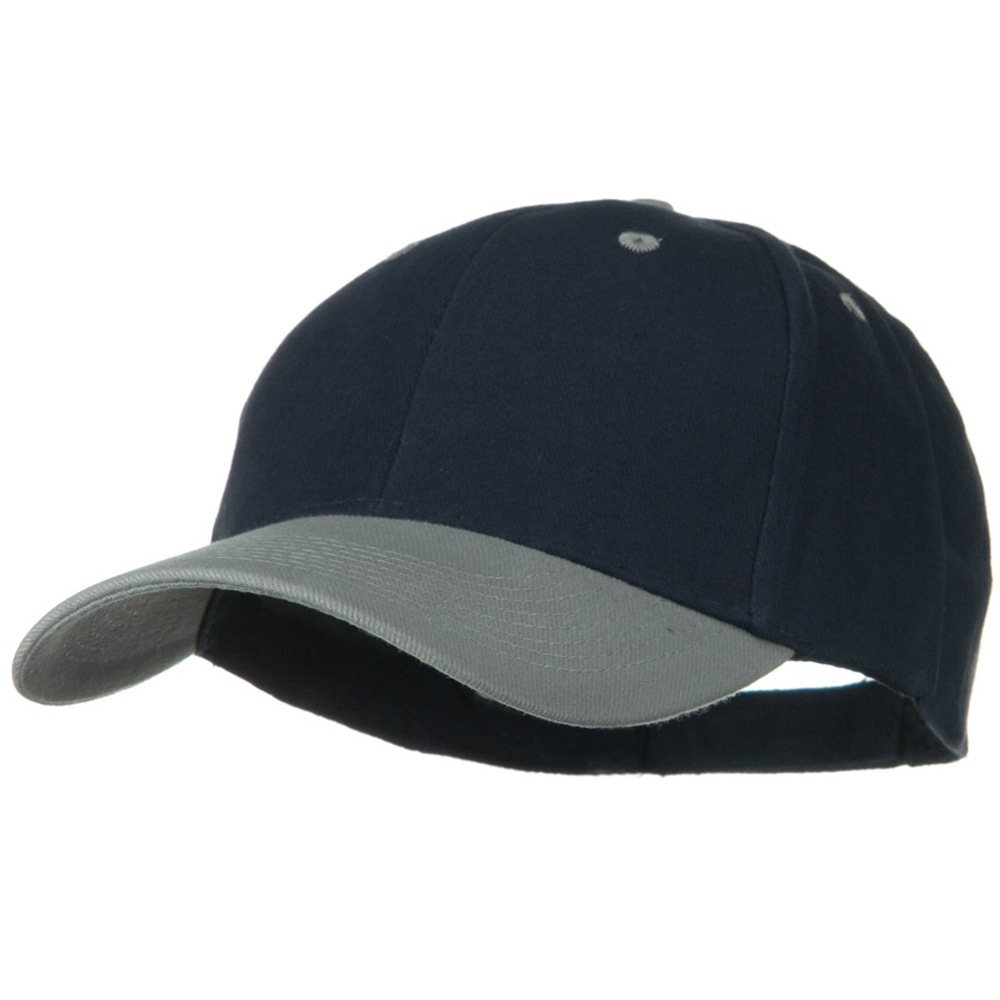 2 Tone Brushed Bull Denim Mid Profile Cap - Grey Navy - Hats and Caps Online Shop - Hip Head Gear