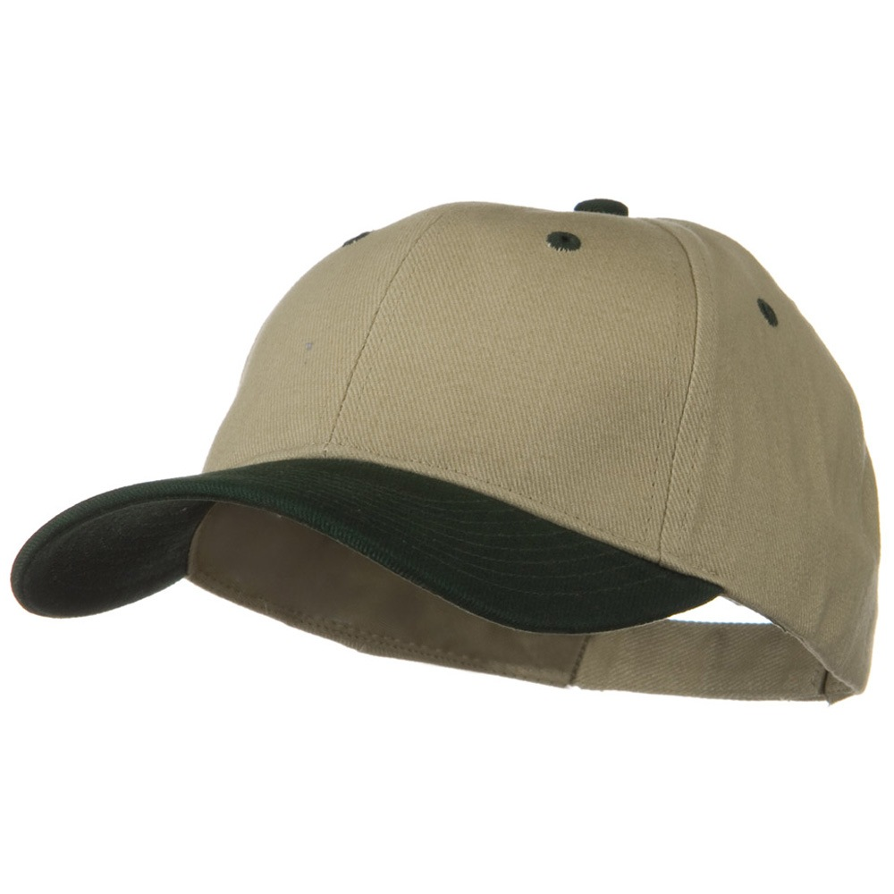 2 Tone Brushed Bull Denim Mid Profile Cap - Dark Green Khaki - Hats and Caps Online Shop - Hip Head Gear