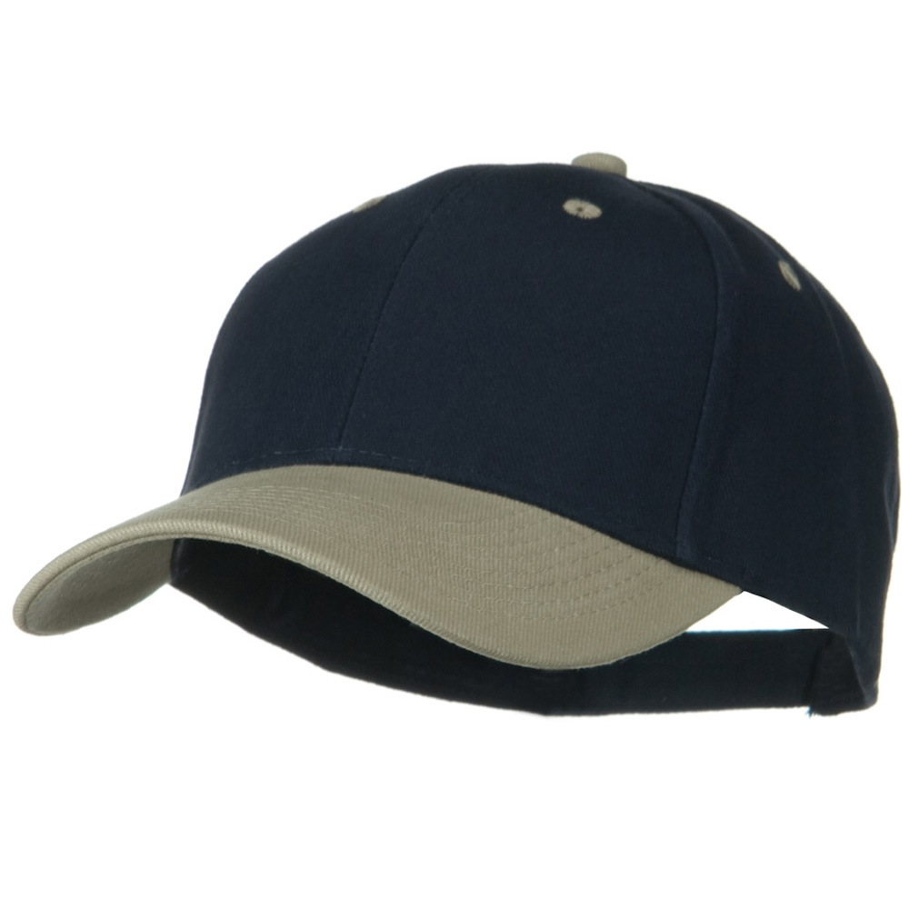 2 Tone Brushed Bull Denim Mid Profile Cap - Khaki Navy - Hats and Caps Online Shop - Hip Head Gear