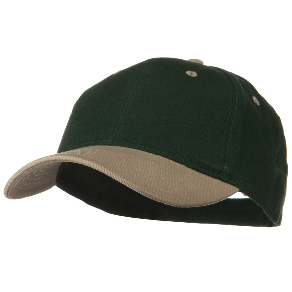 2 Tone Brushed Bull Denim Mid Profile Cap - Khaki Dark Green - Hats and Caps Online Shop - Hip Head Gear