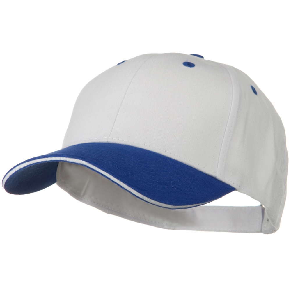 2 Tone Brushed Twill Sandwich Visor Cap - Royal White - Hats and Caps Online Shop - Hip Head Gear