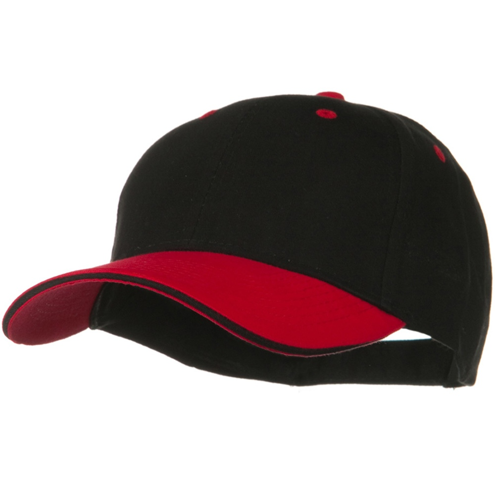2 Tone Brushed Twill Sandwich Visor Cap - Red Black - Hats and Caps Online Shop - Hip Head Gear