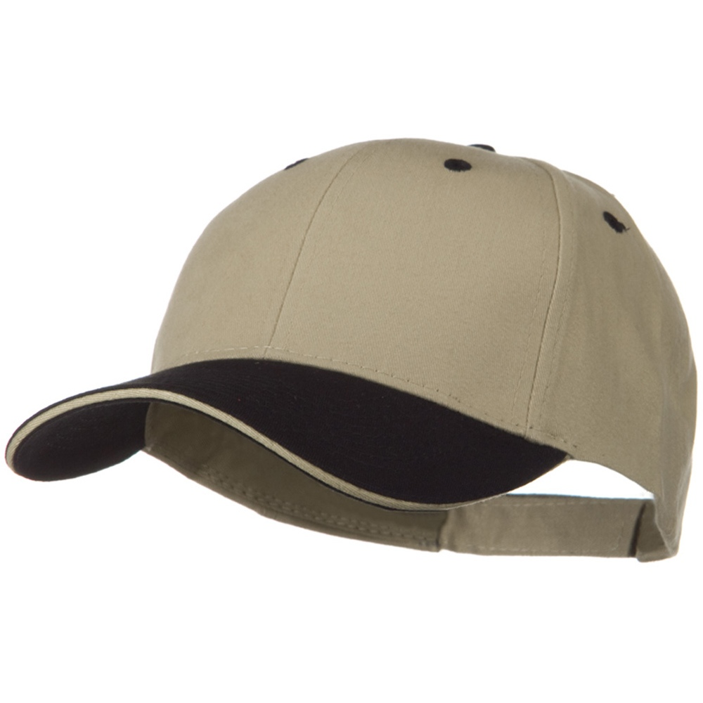 2 Tone Brushed Twill Sandwich Visor Cap - Black Khaki - Hats and Caps Online Shop - Hip Head Gear