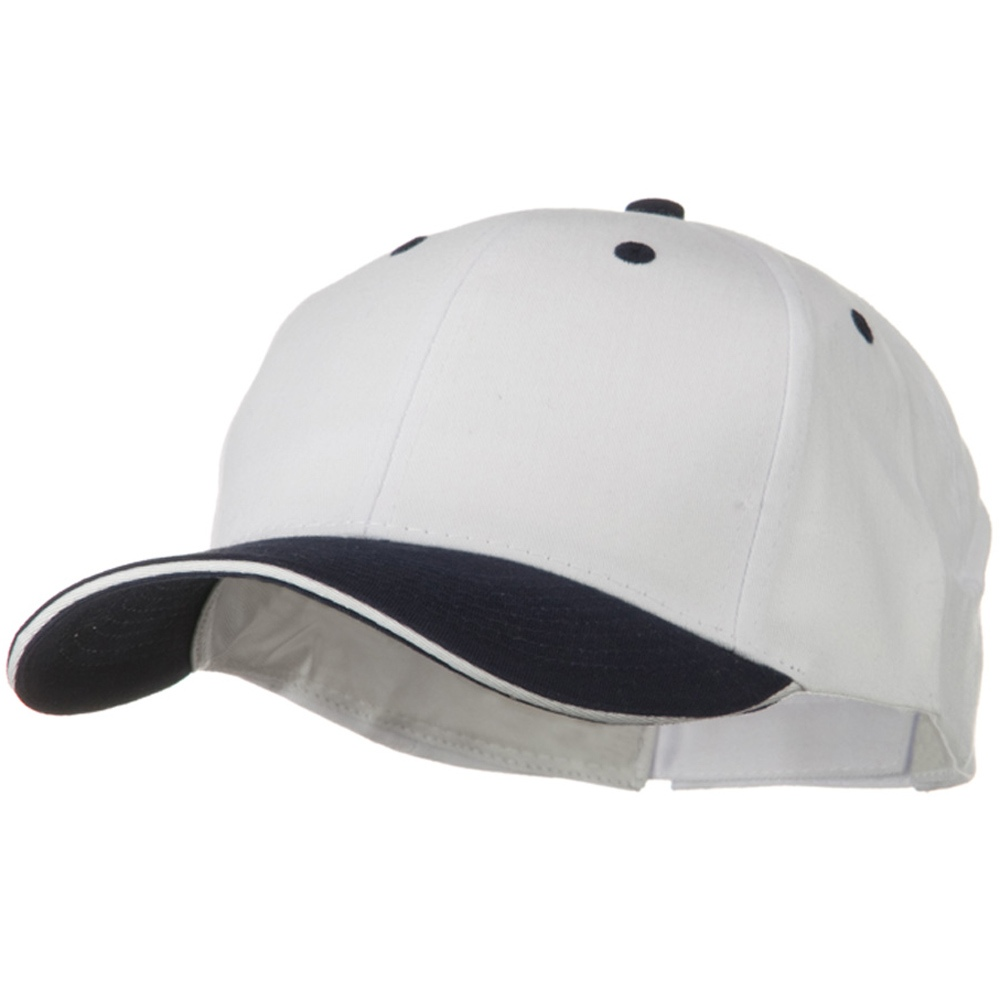 2 Tone Brushed Twill Sandwich Visor Cap - Navy White - Hats and Caps Online Shop - Hip Head Gear