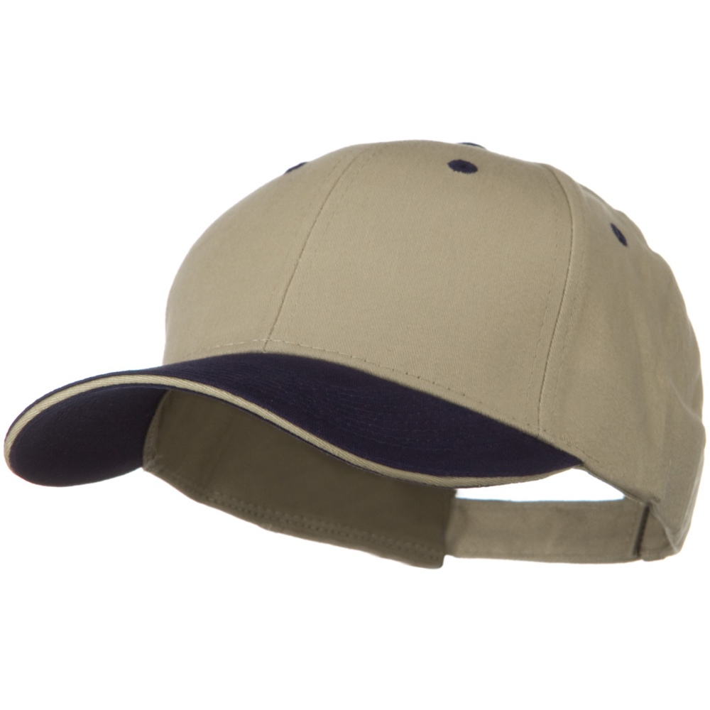 2 Tone Brushed Twill Sandwich Visor Cap - Navy Khaki - Hats and Caps Online Shop - Hip Head Gear