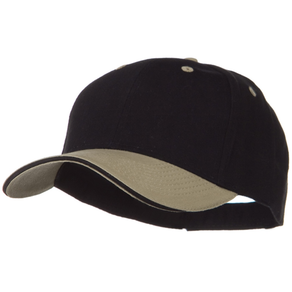 2 Tone Brushed Twill Sandwich Visor Cap - Khaki Black - Hats and Caps Online Shop - Hip Head Gear