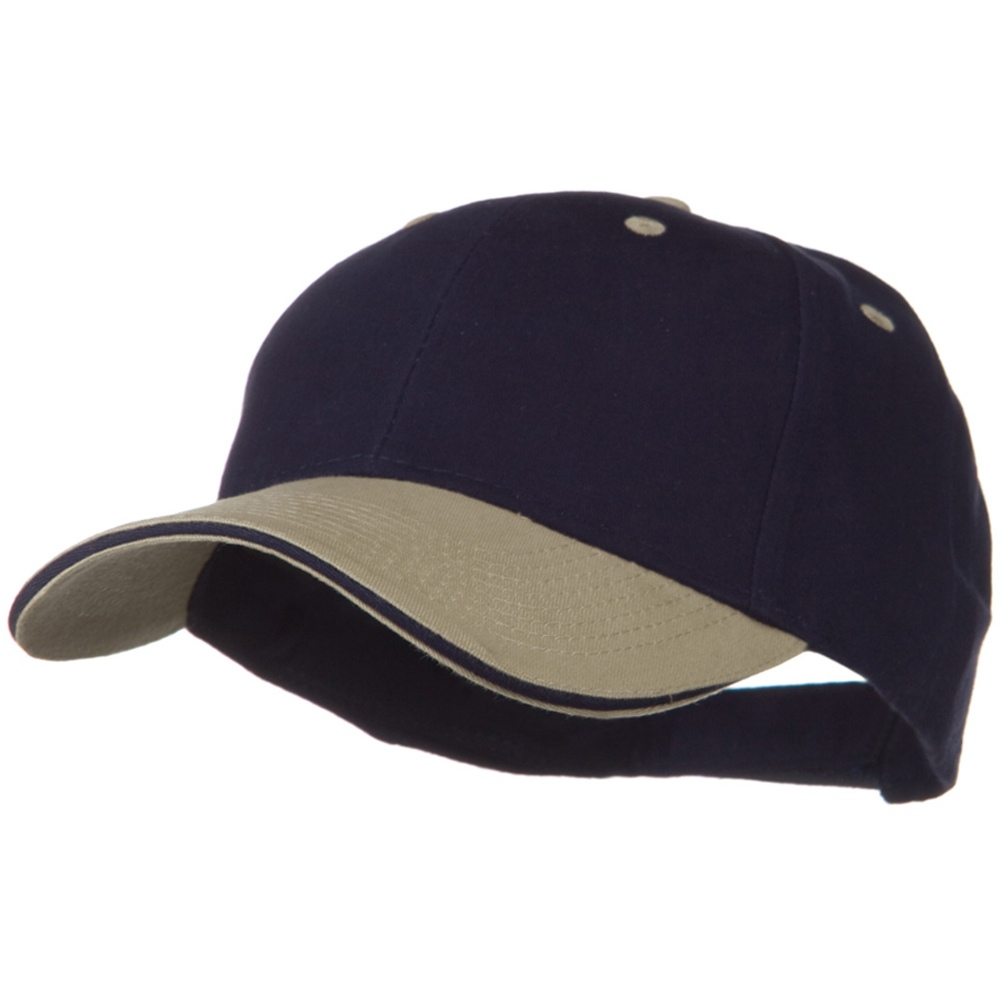 2 Tone Brushed Twill Sandwich Visor Cap - Khaki Navy - Hats and Caps Online Shop - Hip Head Gear
