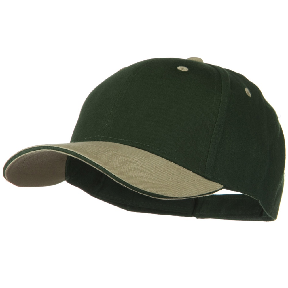 2 Tone Brushed Twill Sandwich Visor Cap - Khaki Dark Green - Hats and Caps Online Shop - Hip Head Gear