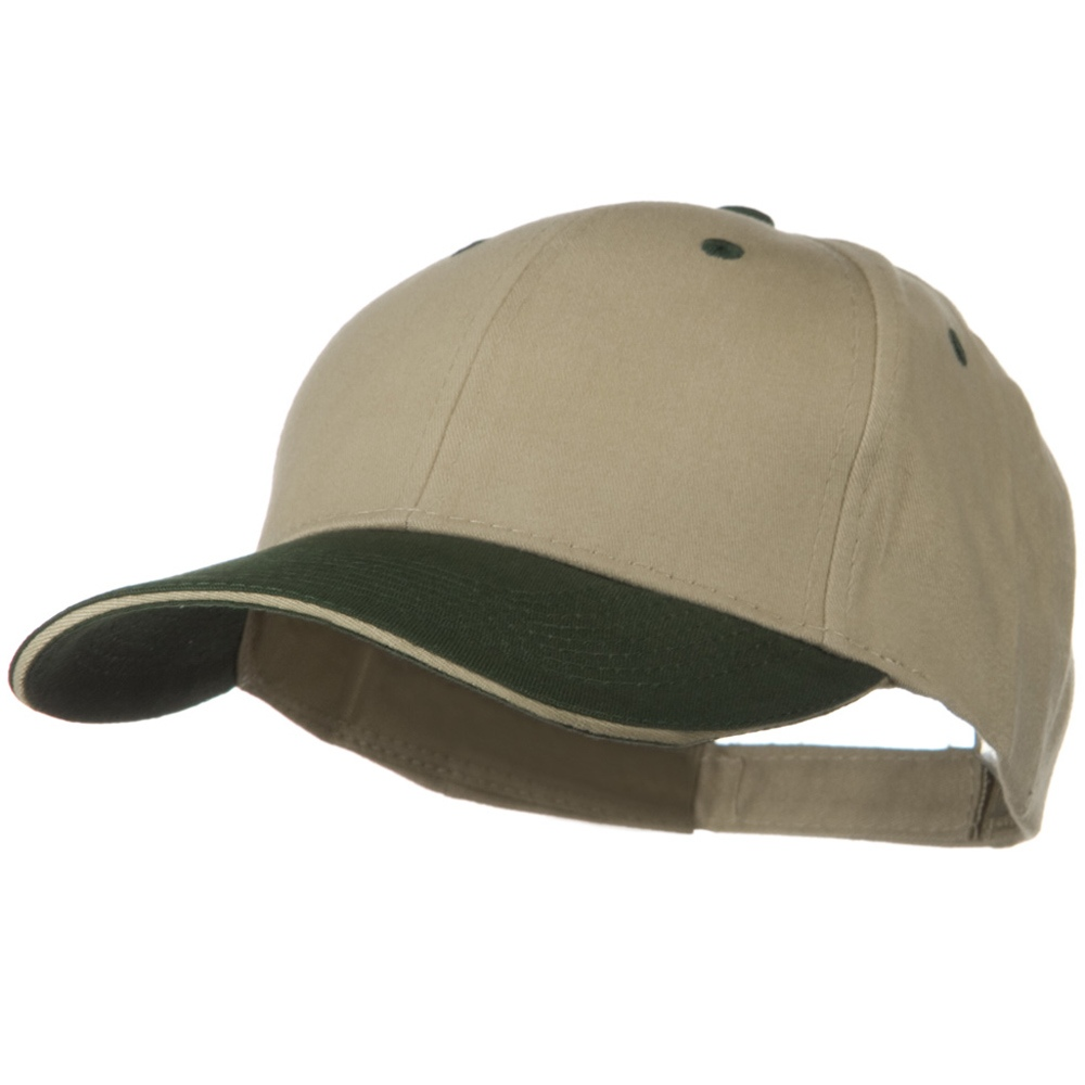 2 Tone Brushed Twill Sandwich Visor Cap - Dark Green Khaki - Hats and Caps Online Shop - Hip Head Gear